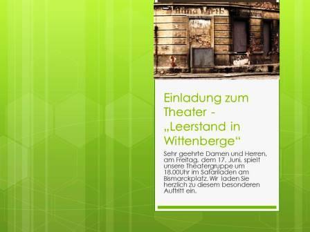 """Einladung zum Theater -  """"Leerstand in Wittenberge2"""